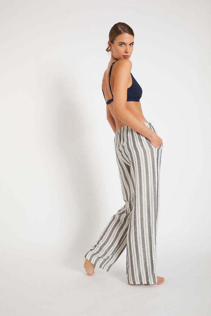Pantalon de plage à rayures marine BEATRIZ PENINSULA