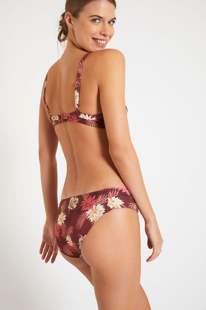 Maillot de bain prune floral à armatures SASKIA & STAEL MANGENIE