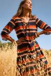 Robe de plage à rayures multicolores ALVEAR VOILAFREEKA