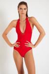 Maillot de bain un pièce rouge MARILEE MERENGUE avec bijou à la poitrine.