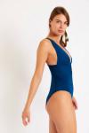 Maillot de bain 1 pièce bleu décolleté ORNELLA BARFLEUR