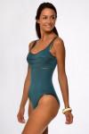Maillot de bain une pièce femme uni vert bouteille Livia ANCOLIE BYBLOS