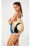 Chapeau de plage capeline coloris naturel IDINA