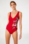 Maillot de bain 1 pièce rouge imprimé fleuri VENUSKA MAHOGANY