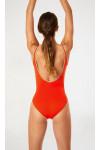 Maillot de bain une pièce femme uni orange Livia ANCOLIE MYRTOS
