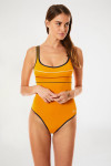 Maillot de bain 1 pièce uni jaune curry ANTHENIA PAVILLON