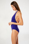 Maillot de bain 1 pièce côtelé bleu indigo AURANE ZELOS