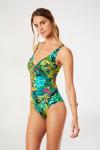 Maillot de bain 1 pièce vert imprimé tropical NANCIE EXOTICA