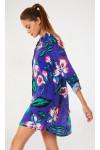 Chemise de plage bleue imprimée à fleurs NOLIE VOILSPLENDIA