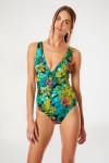 Maillot de bain 1 pièce vert imprimé tropical OSIRIS EXOTICA
