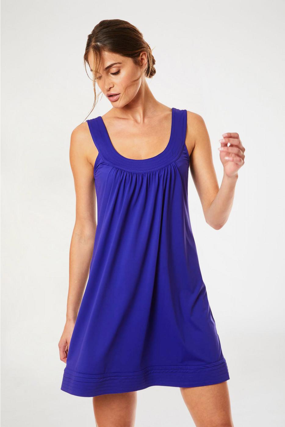 Robe de plage uni bleu indigo FLORIANE LAVANDOU