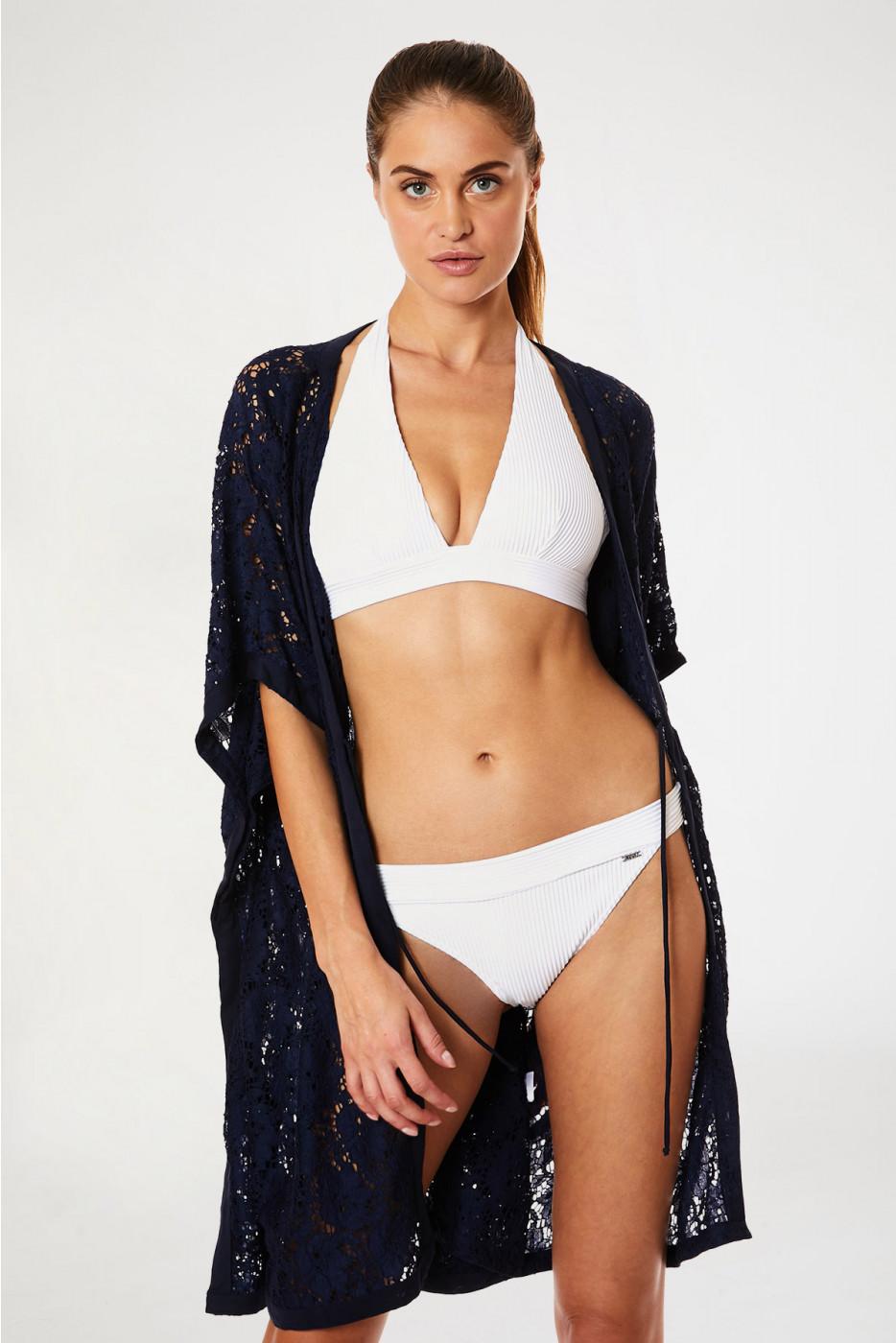 Kimono de plage dentelle marine FERIEL MALAGUETA