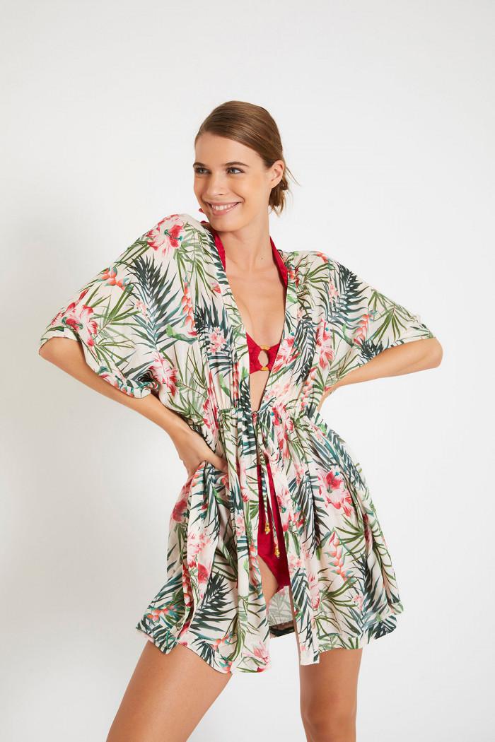 Kimono écru imprimé floral FERIEL VOILMANGLARES