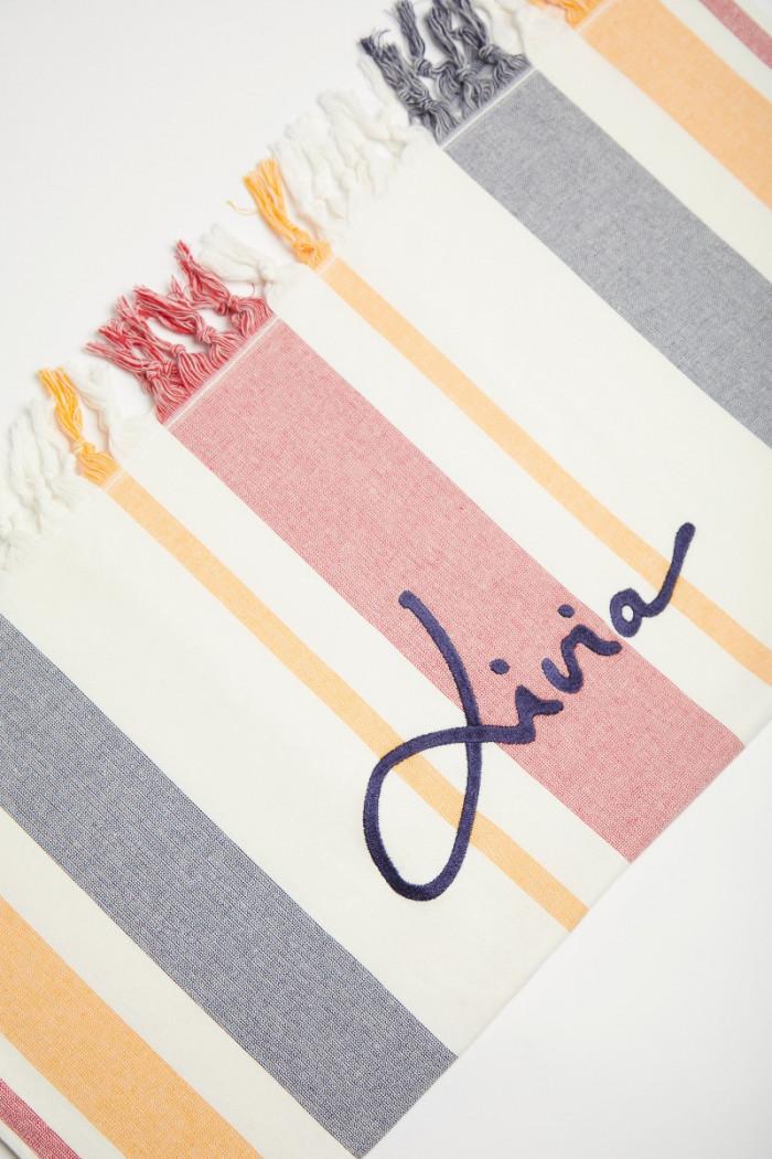 Fouta de plage à rayures bleues, rouges et jaunes JAZMINE FOUTAS