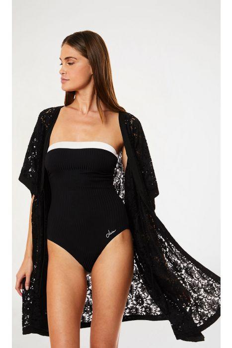 Kimono de plage dentelle noire FERIEL MALAGUETA
